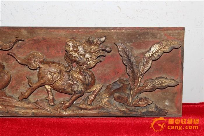 清代麒麟木雕片299元