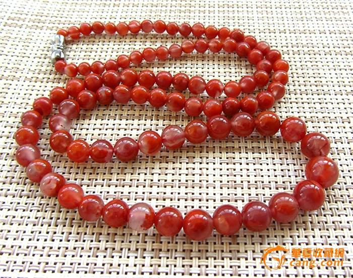 极品樱桃红天然冰种南红玛瑙艳红满色高档圆珠项链!超
