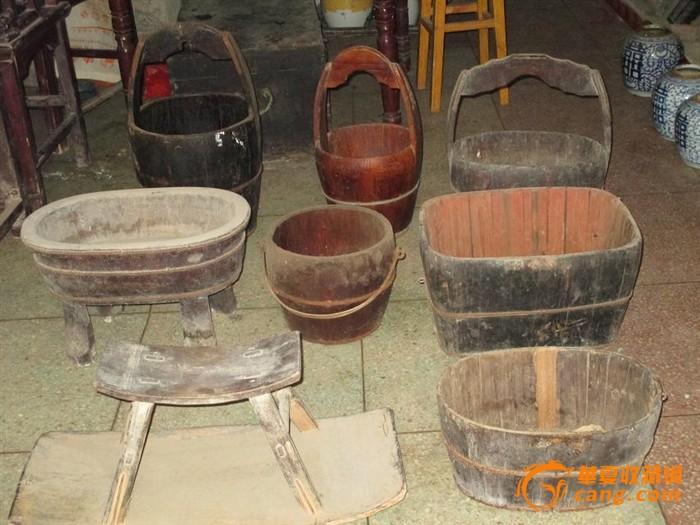 乡下收来的大水桶小提桶腰提桶四脚盆马桶方扁桶秧马小腰桶