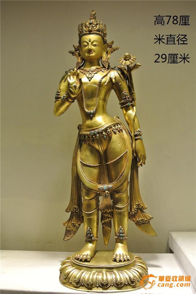 清代铜鎏金弥勒佛-图1