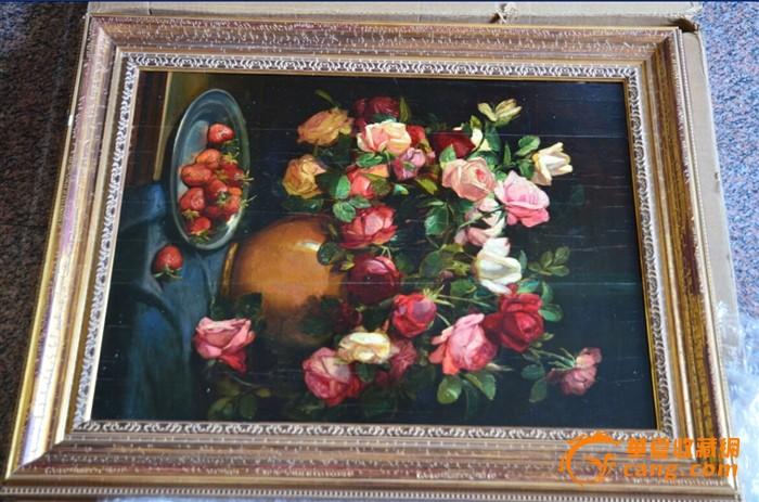 欧洲古董老店 西洋古董手绘玫瑰花卉油画 原装画框
