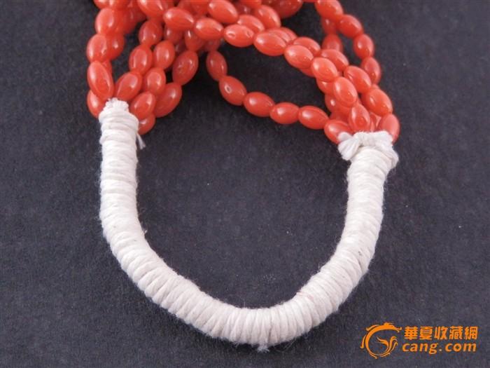 天然牛血红椭圆珠珊瑚项链