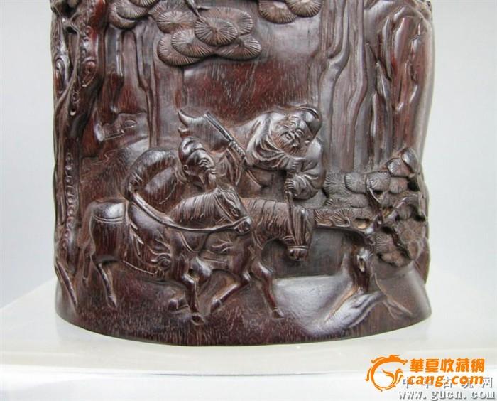 清代紫檀木雕山水人物笔筒