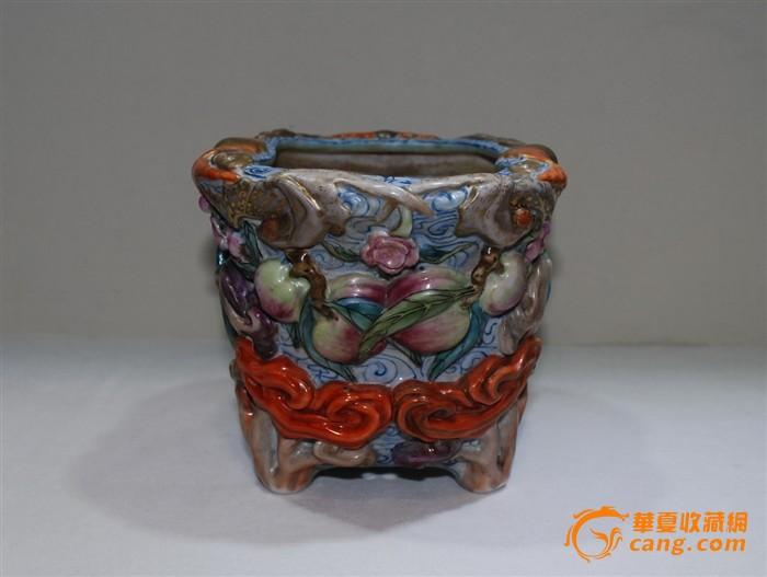 民国 雕瓷花盆