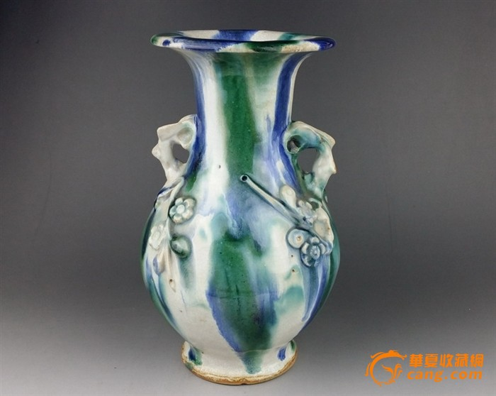 石湾窑塑梅花花瓶