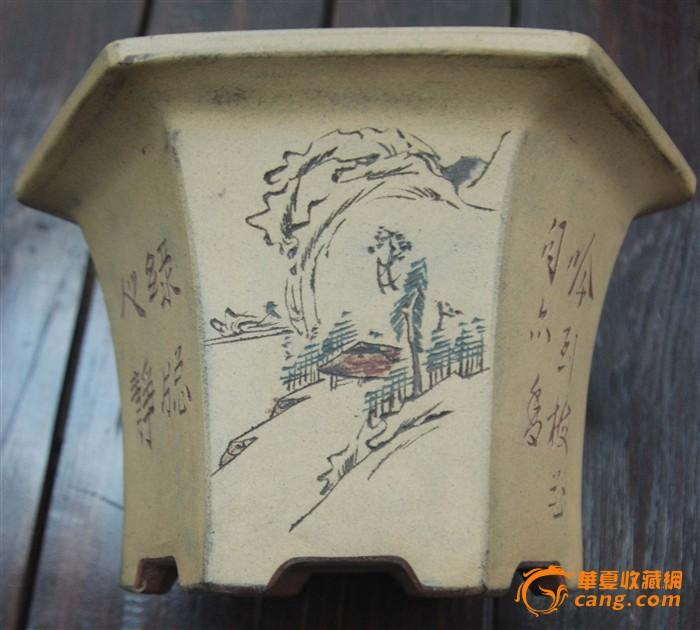民国六角兰花盆