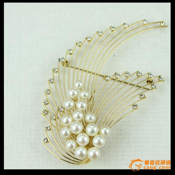 时尚精致金色镶钻珍珠胸针 vintage 实物拍摄