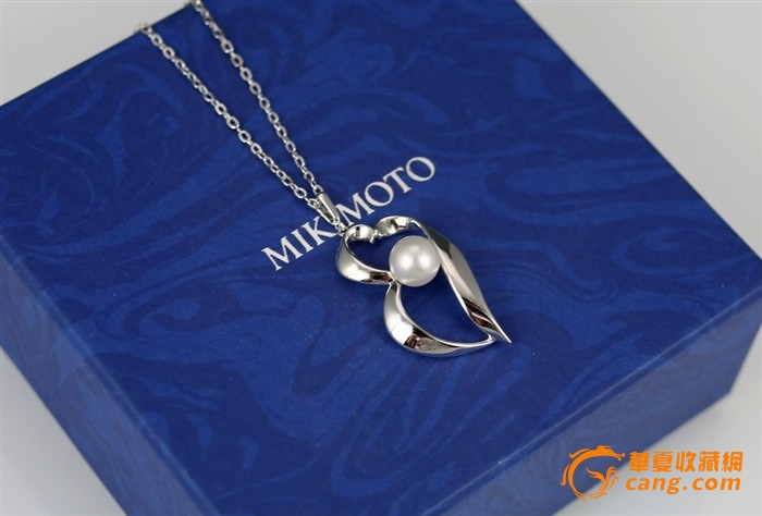 MIKIMOTO御木本925纯银珍珠吊坠项链耳夹套装带原盒