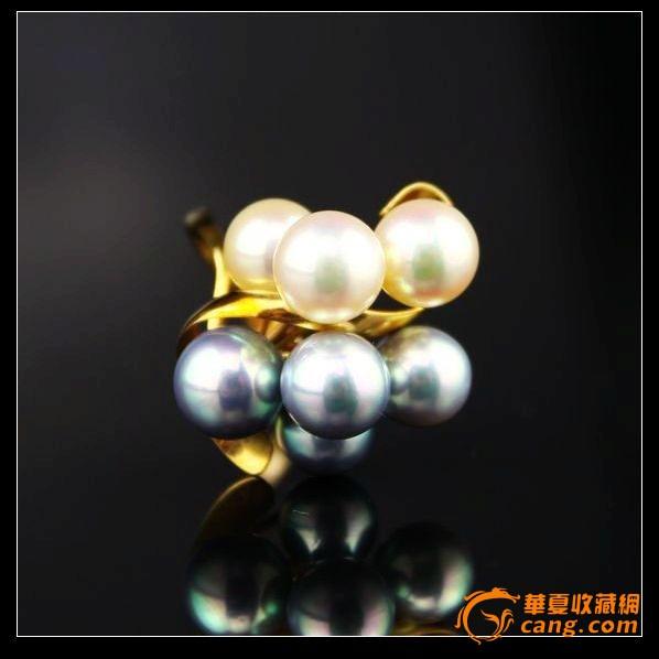 日本定制首饰 18k黄金 天然白珍珠黑珍珠簇 戒指