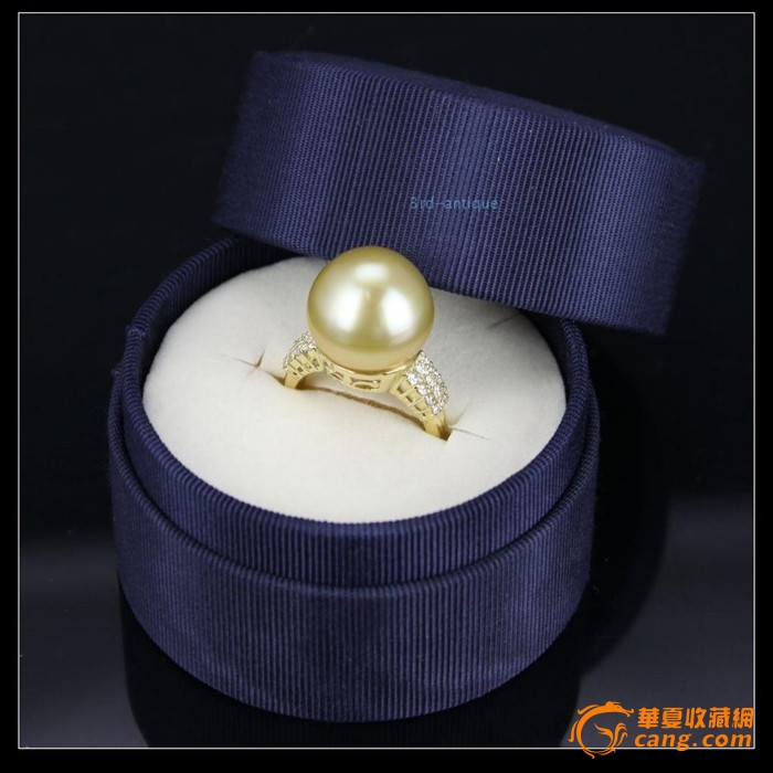日本手工定制18K黄金镶嵌钻石天然大溪地金珍珠戒指带证书