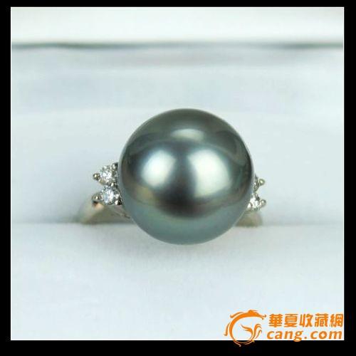 日本PT900铂金钻石正圆强光13.5mm天然南洋黑珍珠戒指