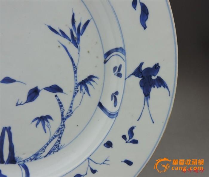 清代 康熙 青花 竹林飞燕 折腰 大盘 直径 32厘米图4