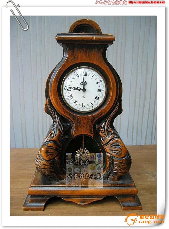 木雕古董钟铜机械钟/8天钟/双象创意造型老座钟/欧式壁炉台钟