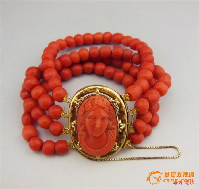 19世纪法国精美切面红珊瑚18K纯金 手链