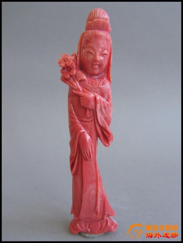 民国-建国初天然红珊瑚人物雕刻摆件