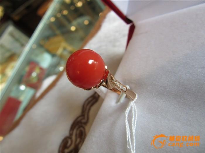唯美a卡珊瑚10mm圆珠戒指