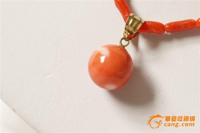 桃珊瑚圆珠项链吊坠 18k金 2g