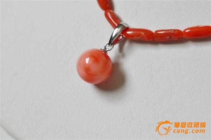 天然桃珊瑚圆珠项链吊坠 新品