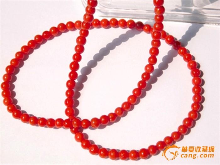 保证天然红珊瑚圆珠项链送证书
