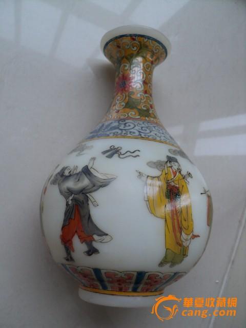 白料八仙过海瓶 高20厘米