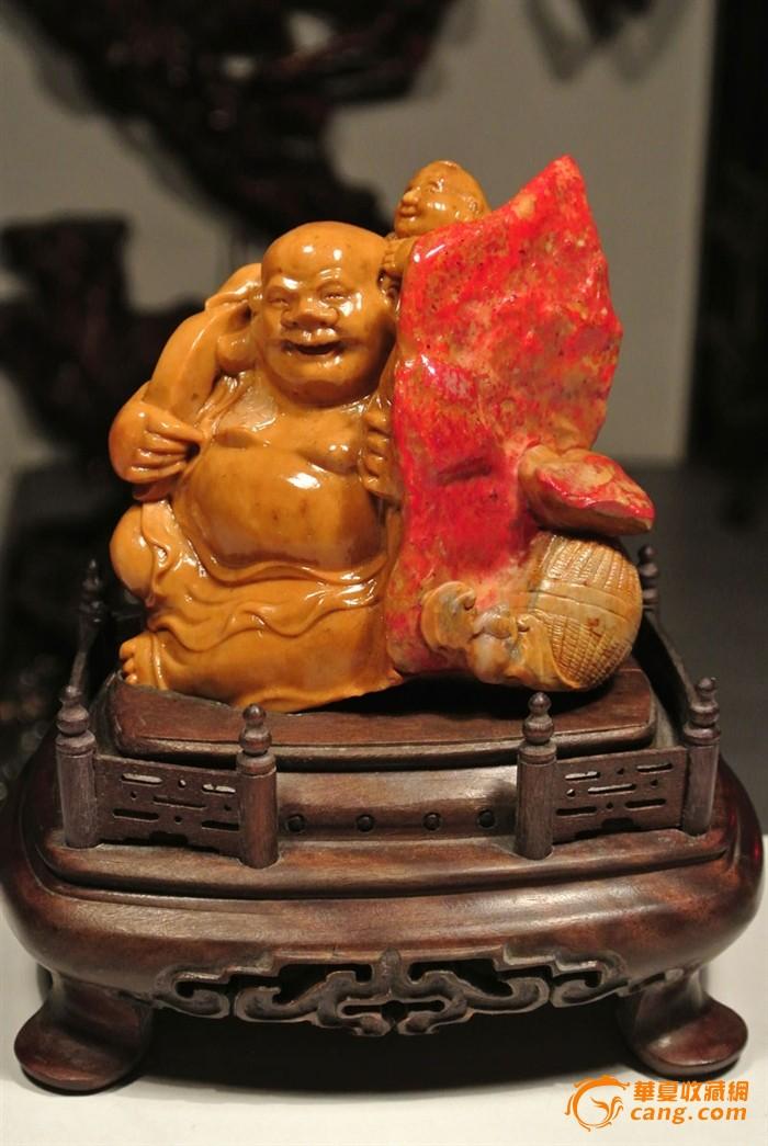 """【重器收藏】昌化田黄鸡血石""""笑口常开""""摆件(帝、后之合)-图1"""