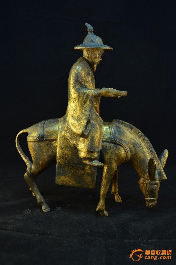 20世纪初 日本铁胎鎏金骑驴唱本仙人像图1