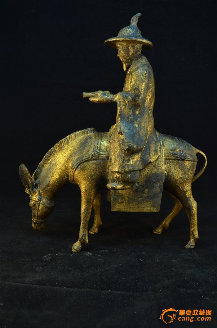 20世纪初 日本铁胎鎏金骑驴唱本仙人像图4