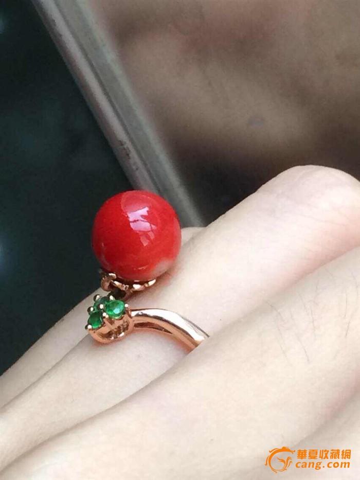 红珊瑚圆珠戒指