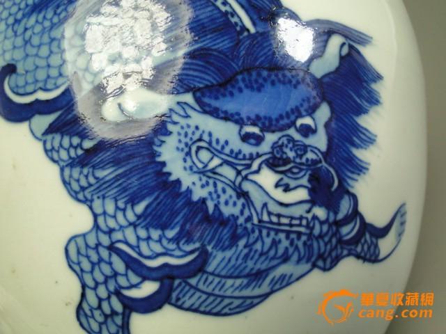手绘花瓶子清代康熙青花瓷兽罐子