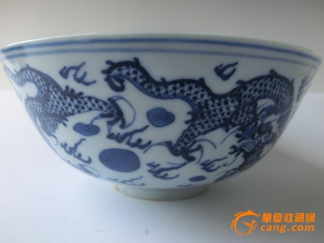 手绘花瓶清代康熙青花瓷龙碗