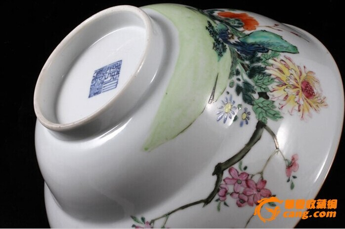 清乾隆 粉彩 花卉纹 折腰 大碗 (一对),19.5厘米。图5