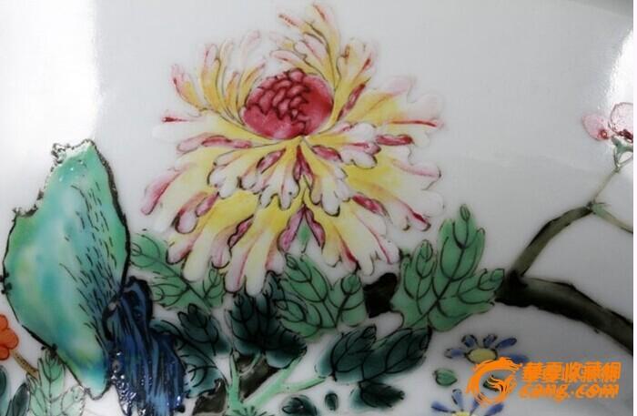 清乾隆 粉彩 花卉纹 折腰 大碗 (一对),19.5厘米。图9
