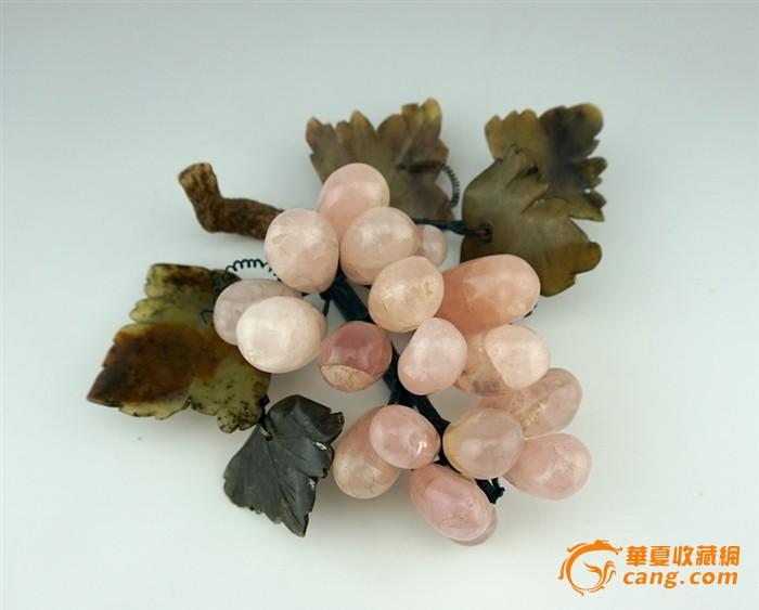 建国后出口玉石盆景上的葡萄 挂果盆景 宝石花盆景 11cm-图1