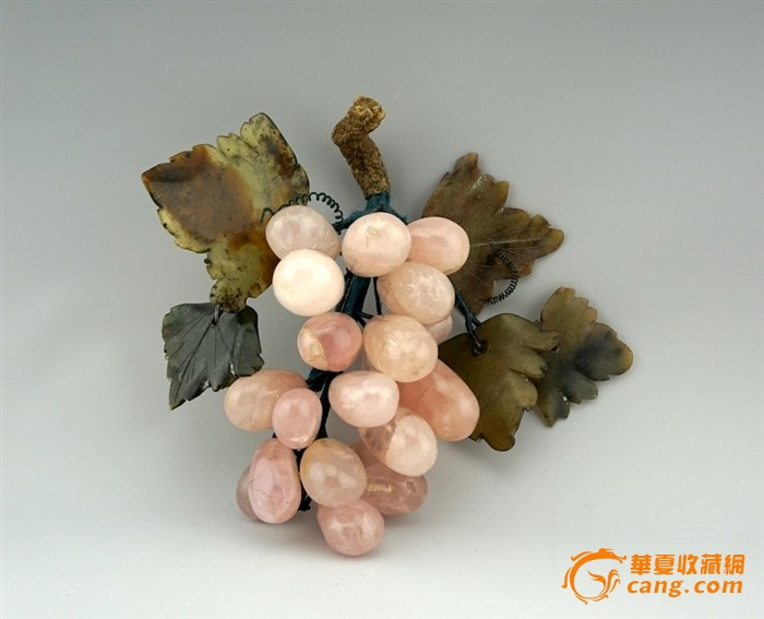建国后出口玉石盆景上的葡萄 挂果盆景 宝石花盆景 11cm-图5