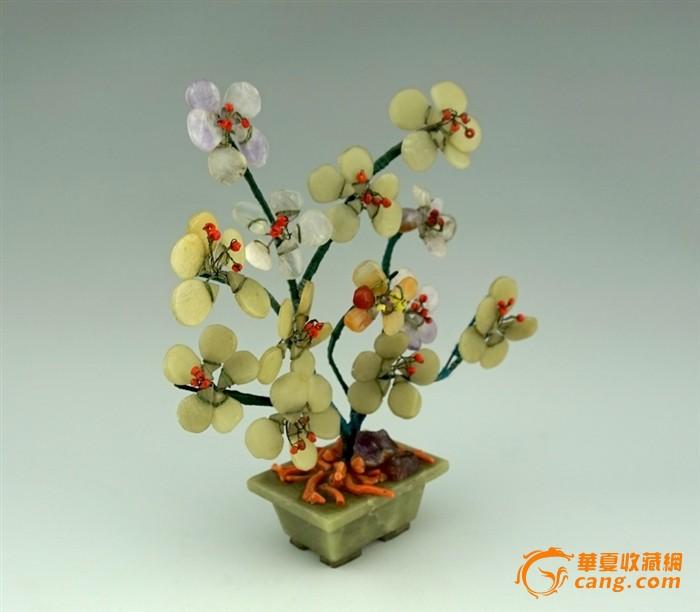 七八十年代出口 半宝石花盆景 紫晶 珊瑚 15cm-图2