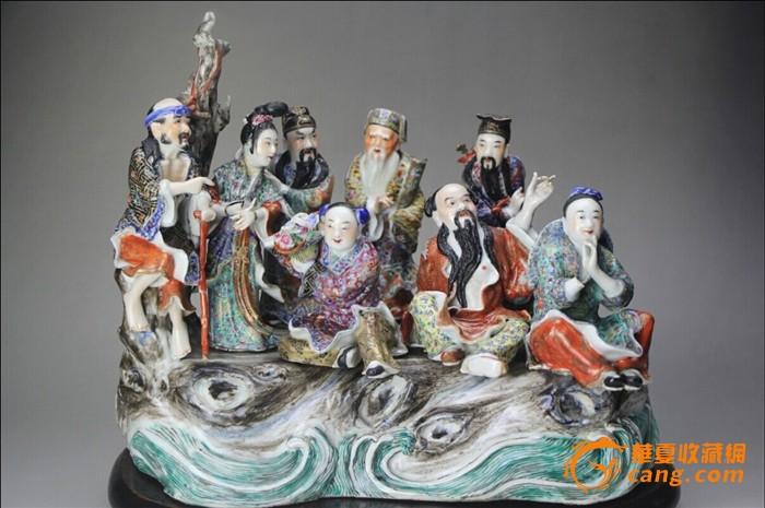 民国精品粉彩瓷塑八仙过海