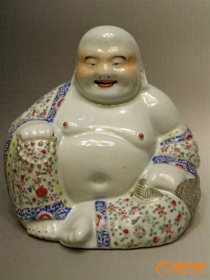 清 粉彩弥勒佛像(朱茂记造款)-图1