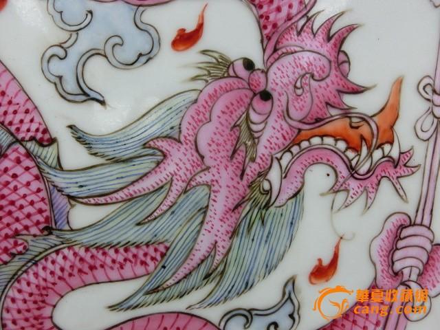 粉彩二龙戏珠挂屏图6
