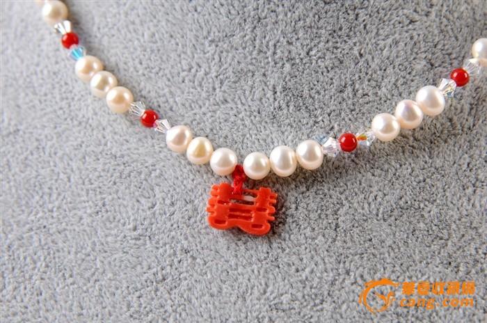 天然莫莫珊瑚囍字配沙丁珊瑚圆珠项链*世纪美品*