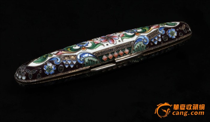 俄国 沙皇时期 精美 掐丝 珐琅 银鎏金 单只 雪茄盒图2