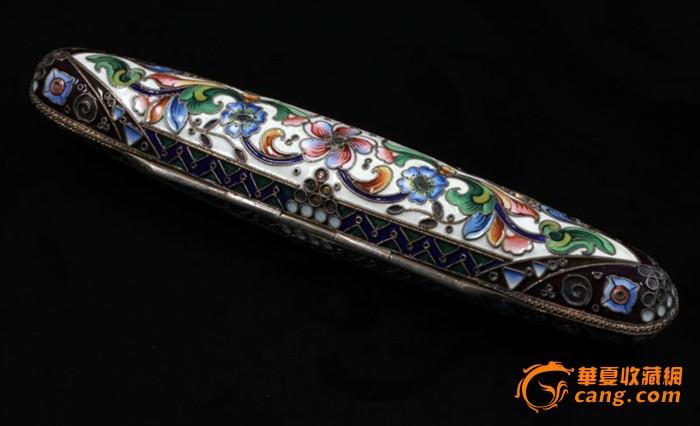 俄国 沙皇时期 精美 掐丝 珐琅 银鎏金 单只 雪茄盒图3