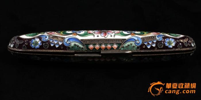 俄国 沙皇时期 精美 掐丝 珐琅 银鎏金 单只 雪茄盒图4
