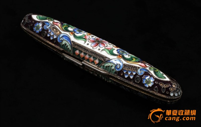 俄国 沙皇时期 精美 掐丝 珐琅 银鎏金 单只 雪茄盒图5