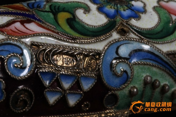 俄国 沙皇时期 精美 掐丝 珐琅 银鎏金 单只 雪茄盒图8
