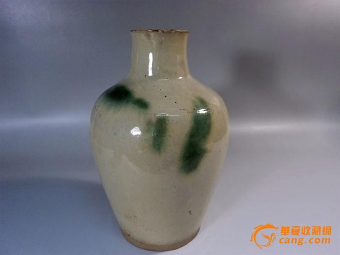 唐代长沙窑白釉点绿彩直口瓶图1