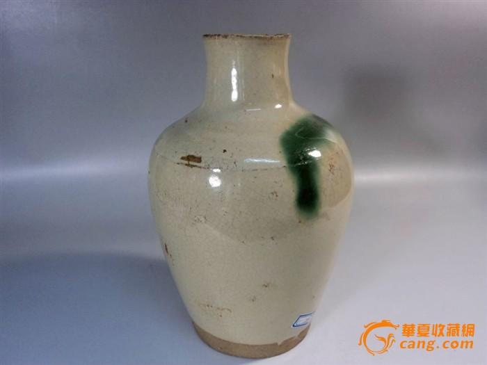 唐代长沙窑白釉点绿彩直口瓶图2