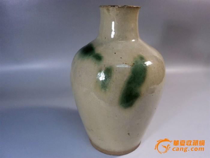 唐代长沙窑白釉点绿彩直口瓶图4