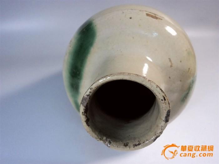 唐代长沙窑白釉点绿彩直口瓶图5
