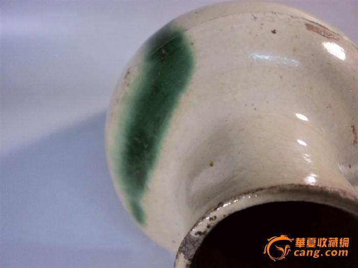 唐代长沙窑白釉点绿彩直口瓶图6