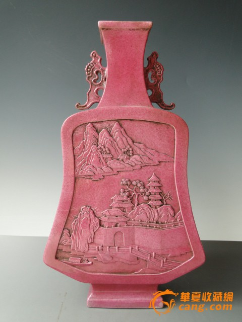 收藏品清代道光雕瓷琵琶瓶-图1